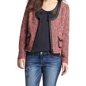 Hinge Red Tweed Faux Leather Panel Jacket